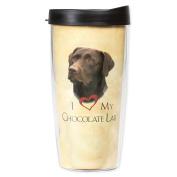 I Love My Chocolate Lab Dog Paws 470ml Tumbler Mug with Lid