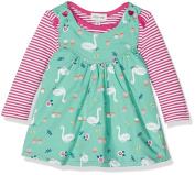 Lilly and Sid Baby Girls' Reversible Pinafore Swan/ Chambray Clothing Set