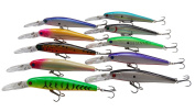 JSHANMEI 10pcs Plastic Hard Minnow Fishing Lures Bait Life-like Swimbait Bass Crankbait for Pikes/Trout /Walleye/Redfish Tackle with 3D Fishing Eyes Strong Treble Hooks