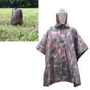 Krayney Rain Poncho Ultra-Lite Ponchos Waterproof Ripstop Hooded US 210T Camouflage Rain Coat for Men Woman