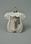 Vintage style Silver and Diamante Freestanding Baby Babies Boys Christening Romper gown design Photo Photograph Frame