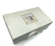 Wedding Bride Keepsake Shoe Box Gift With Gold and Silver Hearts