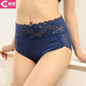 RRRRZ* A number of female underwear thick mm underwear lace edge back straight and tighten your abdomen 3 corner trousers verdant, , , Code are blue