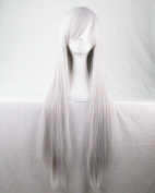 """Kissparts 32"""" 80cm Silver White Straight Hair Cosplay Wig With Free Wig Cap and Comb"""