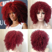 Royalvirgin High Quality Rihanna Cut Hair Style Synthetic Red Curly Wig Afro Kinky Curly Wigs For Women Perruque Cosplay Wigs