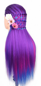 24 Cosmetology Mannequin Head 100% Synthetic Hair Rainbow Colour, Practise Training Hair Styling Mannequin Head (Purple Series) by Perfehair