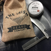 Sleek Stainless Steel Folding Beard & Moustache Comb Pocket Size with Built in Bottle Opener and 100% Natural Beard Balm