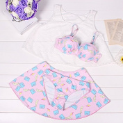 ZHANGYONG* Stylish girl lovable girl stamp and the particles of steel split smock bikini 4 piece ,M, Pink