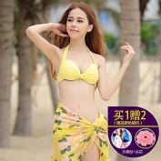 ZHANGYONG*Swimsuit Model 3 Piece Set Top Loin bikini small particles of steel chest and black poverty sexy spa swimsuit ,M, Yellow 5414