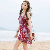 ZHANGYONG*The particles of steel and swimming costume, sexy skirted bikini 3 piece spa swimsuit black poverty smock ,M, wine red