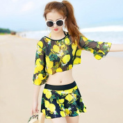 ZHANGYONG*Hot springs bathing suit Female Skirt Style 3 corner split 3 piece bikini steel and small particles of chest sexy swimsuit ,XL, lemon)