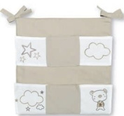 Pirulos - Linen Cot Organiser with pockets, bear and star motifs.