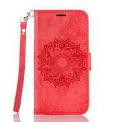 Google Pixel XL Case Leather, Ecoway Mandala embossed pattern PU Leather Stand Function Protective Cases Covers with Card Slot Holder Wallet Book Design Detachable Hand Strap for Google Pixel XL - red