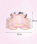 Iron Glass Ceiling Lamps Creative And Warm Living Room Bedroom Wedding Room Heart-shaped Cloth Ceiling Light With Light Source