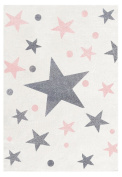 Children's Rug Happy Stars Gris-Rose Cream Rugs 80 x 150 cm