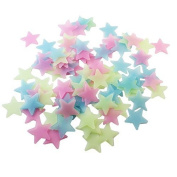 Xpres 100pcs PVC Luminous Fluorescent Star Glow In The Dark Wall Stickers Decals, Mixed Colour