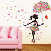 FYOUYOU Flower Butterfly Girl Wall Sticker for Bedroom Living Room Decoration 140*175Cm