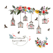 Winhappyhome Birdcage Flowers Wall Art Stickers for Kids Room Living Room Nursery Background Removable Decor Decals