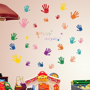 FYOUYOU Pvc Environmental Protection Removable Wall Stickers, Colourful Hand Prints for Children Bedroom Wall Decoration Stickers 600*900mm