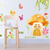 FYOUYOU Cartoon Mushroom Wall Stickers Removable for Bedroom Living Room Tv Background, Environmental Protection Sticker, 60*90Cm