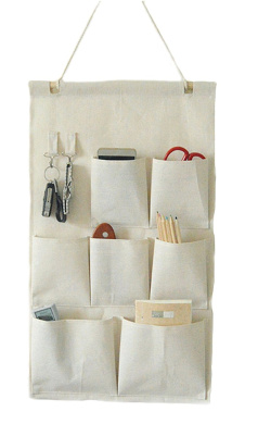 CaLeQi Linen/Cotton Fabric Wall Door Closet Hanging Storage Bag Case 7 Pockets with Hooks (Large Size)