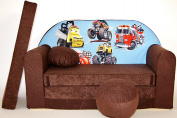 K14 Children's Fold-Out Sofa Couch Sofa Mini 3 in 1 Baby Set + Child Seat and Seat Sofa Cushion/Mattress