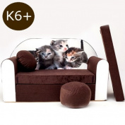 K6 + Children's Fold-Out Sofa Couch Sofa Mini 3 in 1 Baby Set + Child Seat and Seat Sofa Cushion/Mattress