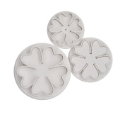 decolordulce Flower Cherry Set Cutters with Ejector, White, 28 x 10 x 5 cm, Pack of 3
