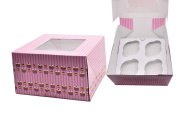 decolordulce Box Cupcake C/Indoor, Cardboard and Paper, Pink, 15 x 15 x 1 cm