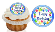 12 Pre Cut Blue Ballon Happy Birthday Cupcake Decorations Wafer Toppers