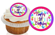12 Pre Cut Pink / Purple Happy 21st Birthday Cupcake Decorations Wafer Toppers