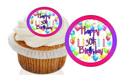 12 Pre Cut Pink / Purple Happy 30th Birthday Cupcake Decorations Wafer Toppers