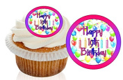 12 Pre Cut Pink / Purple Happy 19th Birthday Cupcake Decorations Wafer Toppers