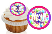 12 Pre Cut Pink / Purple Happy 17th Birthday Cupcake Decorations Wafer Toppers