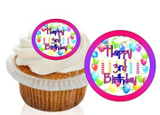 12 Pre Cut Pink / Purple Happy 3rd Birthday Cupcake Decorations Wafer Toppers