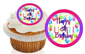 12 Pre Cut Pink / Purple Happy 6th Birthday Cupcake Decorations Wafer Toppers