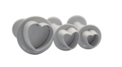 decolordulce Hearts Large Set Cutters with Ejector, White, 28 x 10 x 5 cm, Pack of 3