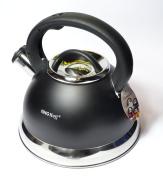 3 Litre Whistling Kettle Teapot Water Jug Kettle Stainless Steel Metallic Whistling Kettle Black