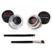 Demarkt Waterproof 2 in 1 Gel Eyeliner Set Beauty Cosmetics Make Up Long-wear Gel Eyeliners Brown and Black with Makeup Eyebrow Brush