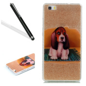 Huawei P8 Lite Case,Huawei P8 Lite Bling Case,Leeook Creative Shiny Glitter Hard Back Cover Funny Cute Dog Pattern Slim Fit Soft Tpu Frame Gold Silicone Rubber Case Cover for Huawei P8 Lite+ 1x Black Stylus-Gold,Cute Dog
