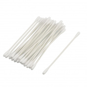 25 Pcs Disposable White Plastic Makeup Remover Double Ended Cotton Buds Swabs