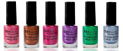 Stampinglack Glitter and Set 6x4ml Pink Fuchsia, Purple, Blue, Green, Copper Stamping Nail Polish RM Beauty Nails