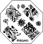 Nail Art Stencil Plate with 83 ° with Flower Tendril Designs