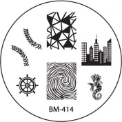 BM-414 Nail Art Stencil Stamping Plate with Skyline, Fingerprint, Anchor and Seahorse Designs