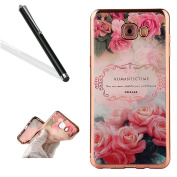 Samsung Galaxy J5 Prime Case Cover with Free Black Stylus Pen,Leeook Luxury Elegant Beautiful Floral Pink Rose Flower Electroplate Plating Frame Crystal Soft Gel Silicone TPU Case Cover Bumper for Samsung Galaxy J5 Prime