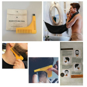 Beard Grooming Kit with Beard Comb and Shaping Template and Beard Hair Catching Apron Bib