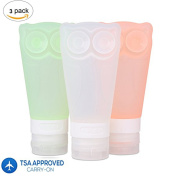 Silicone Travel Bottles Set, Refillable Cosmetic Containers, Owl-Shaped Squeezable Leakproof Reusable Travel Containers for Travel Size Toiletries