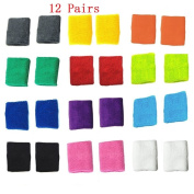 Bluesky 12 Pairs of Different Colour Colourful Cotton Sweat Sports Basketball Football Wristband Wrist Sweatbands Wrist Bands