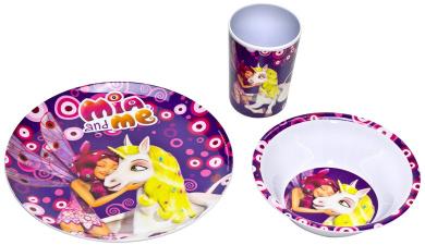 Mia and me - Melamine Dinnerware Set Breakfast (3 pcs) Plate Cup Bowl