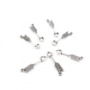 Price per Lot 10 PCS Jewellery Making Charms Antique Silver Tone Colour Jewellery Charme Findingss Bulk Wholesale Suppliers Arts Crafts I5UF8 Heart Arrow